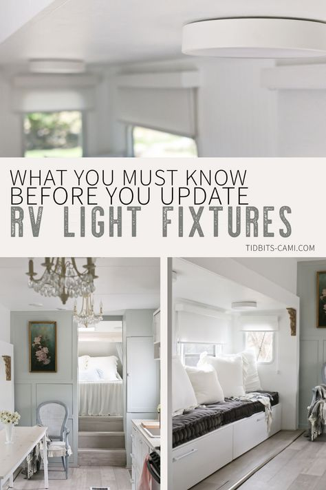 What You Must Know Before You Update RV Light Fixtures - Tidbits 5 RV interior lighting tips you must know before you upgrade those RV light fixtures that might be driving you nuts - plus a fun lighting hack that will rock your tiny world! Rv Lighting Fixtures, Interior Lighting, Light Fixtures, Interior Natural, Home Interior, Rv Interior Remodeling, Airstream Interior, Interior Design, Camper Lights