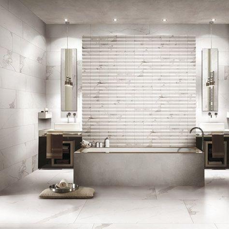 Carrelage Sol Et Mur Blanc Effet Marbre Rimini L 60 X L 120 Cm