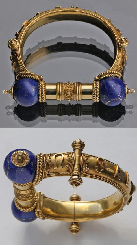 A Victorian Etruscan Revival Bangle, Attributed to JOHN BROGDEN, British, circa Composed of gold and lapis lazuli. Medieval Jewelry, Ancient Jewelry, Victorian Jewelry, Antique Jewelry, Gold Jewelry, Jewelery, Vintage Jewelry, Jewelry Accessories, Fine Jewelry