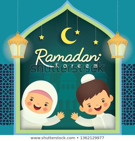 Ramadan Kareem Greeting Card Cute Cartoon Muslim Kids With Famous Lantern Mosque Crescent Moon Stars Ramadan Kareem Pictures Ramadan Greetings Ramadan