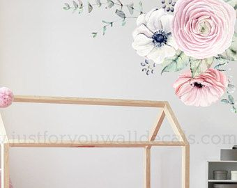 Flower Wall Decal Floral Wall Decal Watercolor Wall Decals