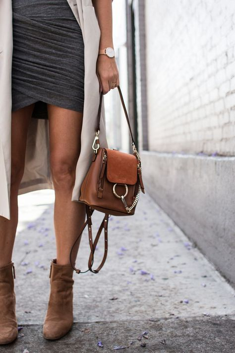 I feel more comfortable when I am wearing black, white or neutral tones. I combined 3 old pieces of my wardrobe for this outfit: a grey IRO dress, camel boots and a beige trench coat.