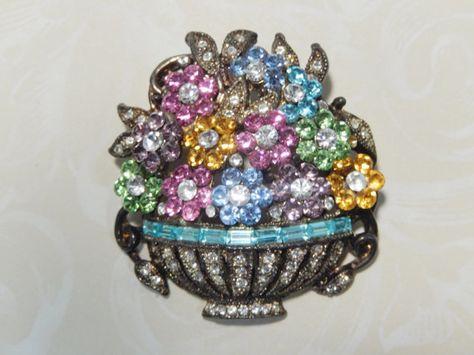 Vintage Pot Metal Flower Basket Brooch Pin