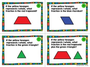 Fraction Task Cards With Pattern Blocks Pattern Blocks