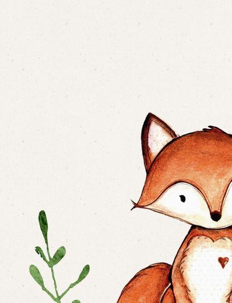 Forest animal art prints Nursery fox print Boys nursery | Etsy