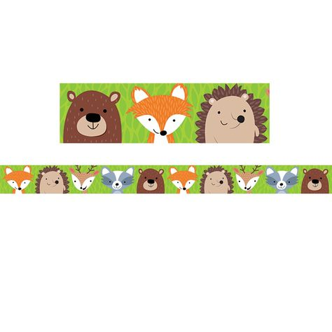 """This cute Woodland Friends border will add charm to bulletin boards, doors, and common areas. This border features colorful woodland animals (fox, deer, hedgehog, bear and raccoon) on a leafy green background. Perfect for use in a variety of classroom displays and themes: science, nature, outdoors, animals, and camping. Measures 3"""" wide. Each pack includes 35 feet of border. Sold as 6 packs for a total of 210 feet of border. Border Idea: Add style and pops of color to any bulletin board by mixin"""
