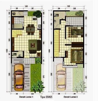 contoh denah rumah sehat 2 lantai 2014 di 2020 | denah