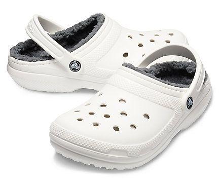White fuzzy crocs   Fuzzy crocs, Lined