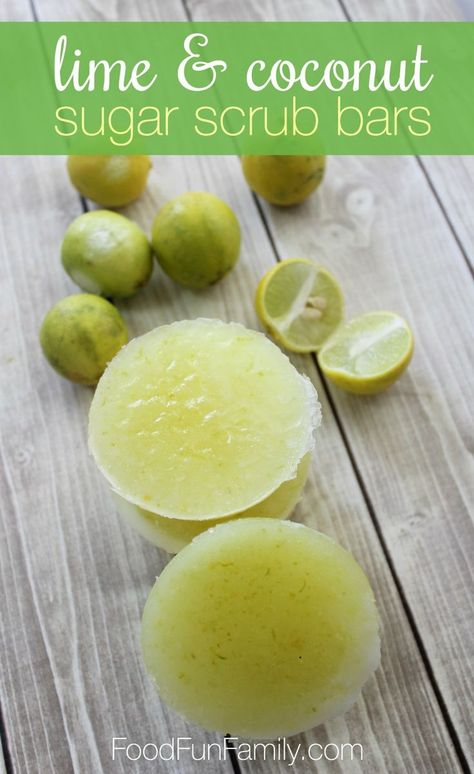 DIY Masque : Description Lime and coconut sugar scrub bars using essential oils and skin-friendly, natural ingredients from Food Fun Family Sugar Scrub Recipe, Sugar Scrub Diy, Sugar Scrub Cubes, Sugar Soap, Body Scrub Recipe, Lotion Recipe, Homemade Scrub, Homemade Soap Recipes, Homemade Sugar Scrubs