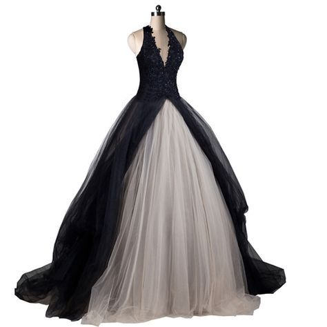 Black And Light Champagne Lace And Tulle Halter Neck Beaded Wedding Dress Black Wedding Dresses Black Wedding Dress Gothic Gothic Wedding Dress