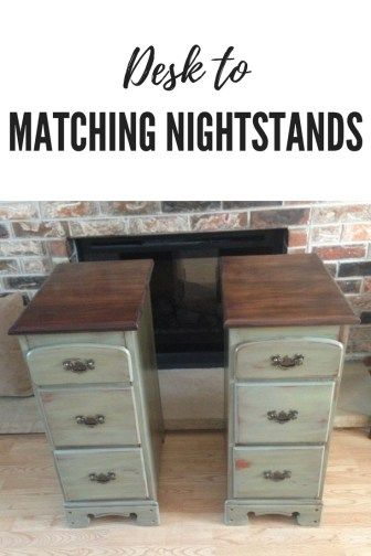 Desk Made Into Matching Night Stands Repurposed Desk Repurposed Furniture Recycled Furniture