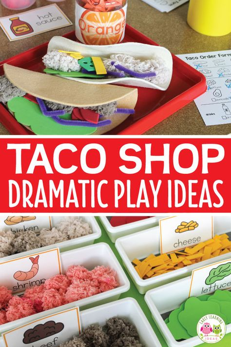 Check out all of these taco shop dramatic play ideas. Transform your dramatic play area into a taco restaurant or taco truck. This is perfect for your dramatic play center your preschool or pre-k classroom. You will have fun with these DIY ideas for makin Dramatic Play Themes, Dramatic Play Area, Dramatic Play Centers, Preschool Dramatic Play, Preschool Centers, Preschool Activities, Preschool Decorations, Preschool Set Up, Summer Activities