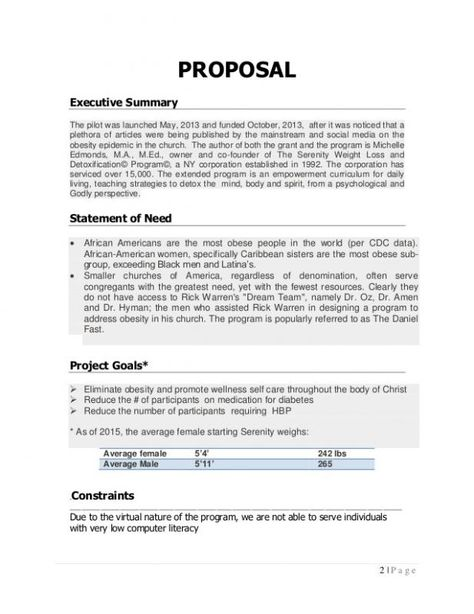 Program Proposal Template Template Executive Summary