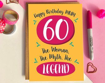Funny 60th Birthday Card For Mum Birthday Cards For Mum 60th Birthday Cards Paper Gifts