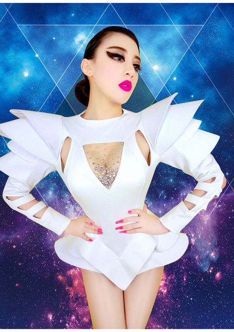 48a933ecee White Rhinestones One Piece Bodysuits Female Singer Sexy Drag Queen Show  Dance Costumes Stage Wear -in Bodysuits from Women s Clothing   Accessories  on ...