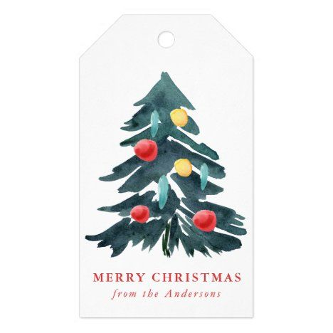 Watercolor Christmas Tree With Ornaments Holiday Gift Tags Zazzle Com In 2020 Watercolor Christmas Tree Christmas Watercolor Painted Christmas Gifts