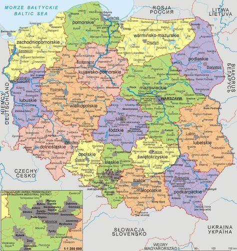 Polen Geografiske Kort Over Polen Dansk Encyklopaedi Polen