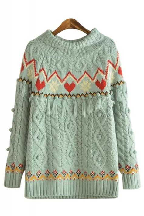 Love Love LOVE this Sweater! So Gorgeous! Love the Color! Love the Hearts! Love the Snowflakes! Tassel Decorated Round Neck Long Sleeve Print Pullover Sweater #Aqua #Mint #Hearts #Snowflakes #Cable #Knit #Holiday #Sweater #Fashion
