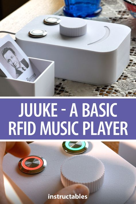 The Juuke box i a RFID music player designed to be easily used by the elderly and kids with a play/pause button, shuffle button, and a volume knob.  #Instructables #electronics #technology #Arduino #audio