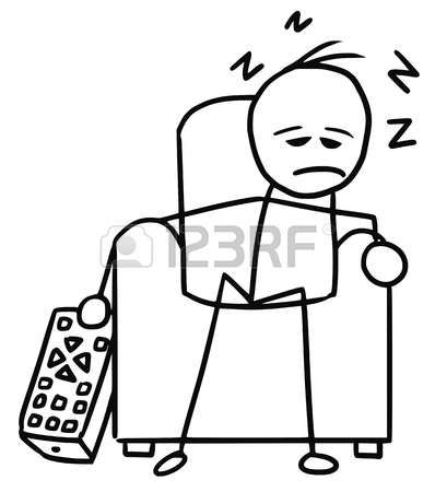 Cartoon Vector Doodle Stickman Sleeping In The Chair In Front Of Television Vector Cartoon Vector Doodles Easy Doodle Art