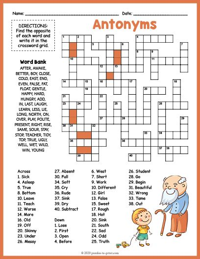 Free Printable Antonyms In 2021 Puzzles For Kids Printable Crossword Puzzles Antonyms