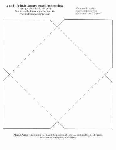 4 And 3 4 Inch Square Envelope Template By Stampztoomuch Cards And Paper Crafts At Splitcoasts Square Envelopes Envelope Template Envelope Template Printable