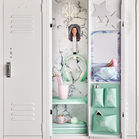 Organize your locker make it unique with Pottery Barn Teen's locker decorations. Find locker shelves and locker accessories to give your locker a boost of personality and style. Cute Locker Decorations, Cute Locker Ideas, Diy Locker, Locker Stuff, Middle School Lockers, Middle School Supplies, Middle School Hacks, Locker Essentials, Beauty Products
