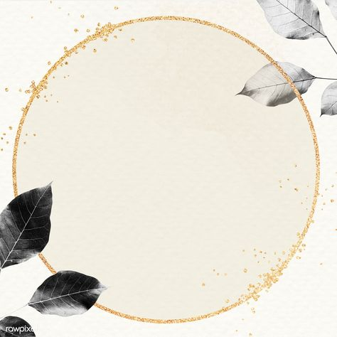 Gold frame with foliage pattern on marble textured background illustration | premium image by rawpixel.com / HwangMangjoo