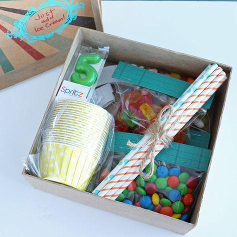 For a birthday away from home, I packed a small box with everything needed for a surprise ice cream party. My son declared it