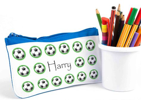 Boys Pencil Case,Personalised Pencil Case,School Pencil Case,Blue Pencil Cases,Back To School,Football Pencil Case,Soccer Gift by TigerlilyprintsLtd on Etsy