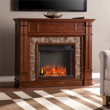 Bowery Hill 48 Faux Stone Fireplace Tv Stand In Maple