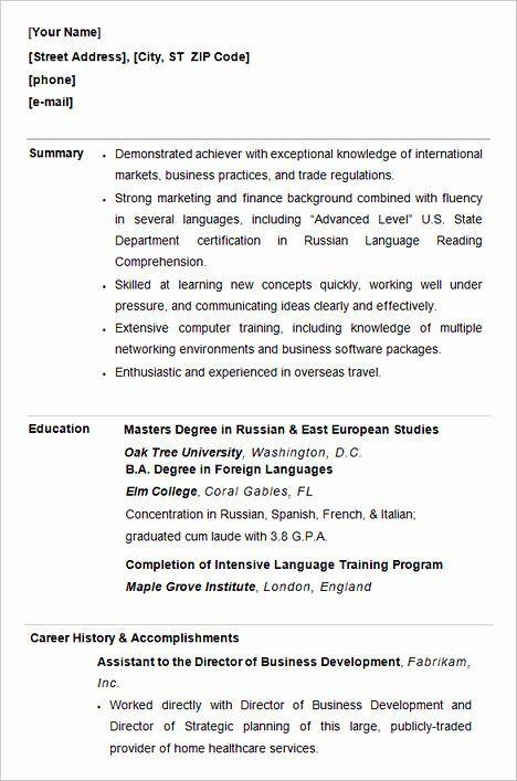 40 College Graduate Resume Template In 2020 Student Resume