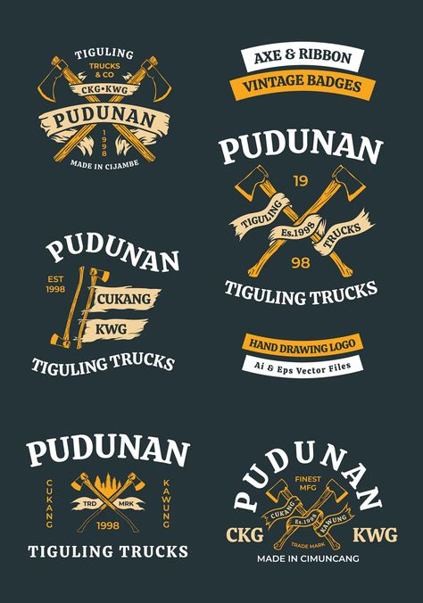 Axe and Ribbon Vintage Badges Template