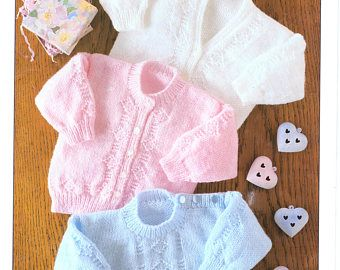 "DK Cardigan and Hat,16-22/"" Vintage Baby Knitting Pattern 2 yrs Newborn"