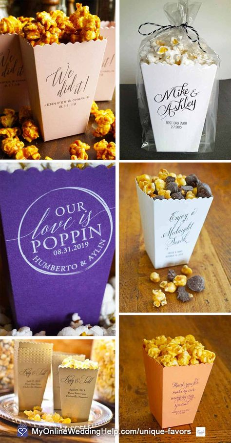 Popcorn wedding favors are a unique idea and they smell soooo good! You can DIY your own with these customized popcorn boxes. Look for the link for more information in the non-traditional wedding favors blog post on MyOnlineWeddingHelp.com #WeddingFavors #DIYWedding #DIYFavors #WeddingIdeas