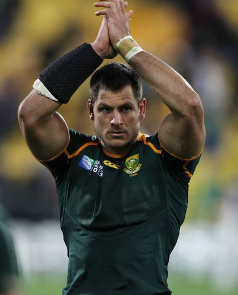 Pierre Spies of South Africa applauds during the 2011 IRB Rugby World Cup quarter final three match between South Africa and Australia at Wellington Regional Stadium on October 2011 in Wellington, New Zealand.