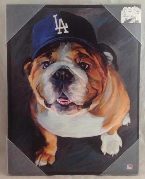 Bulldog Los Angeles Dodgers Puppy Wall Hanging Litho Dog Art