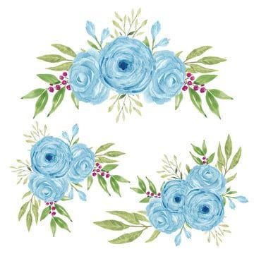 Blue Watercolor Roses Flowers Leaves 83386 Illustrations Design Bundles Flower Drawing Watercolor Flowers Watercolor Rose