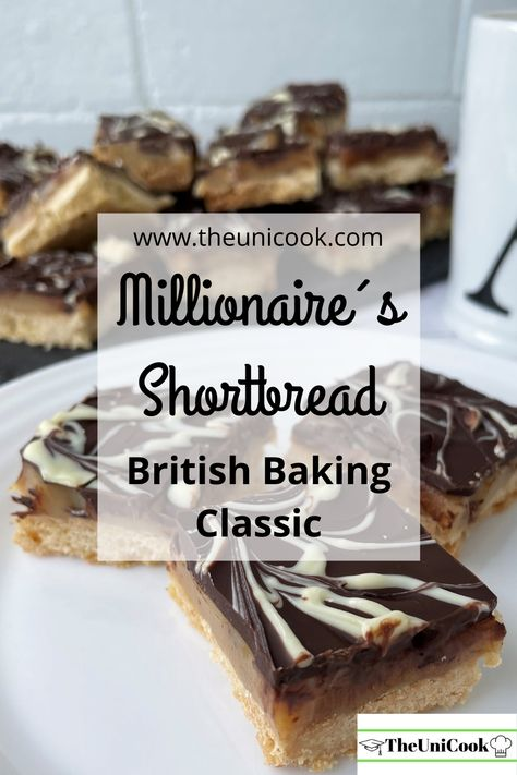 Millionaire's Shortbread is an absolute British Classic! A layer of crumbly shortbread biscuit, topped with a layer of sweet caramel and finished with a thin layer of dark chocolate to off-set some of that sweetness! This is a real treat but definitely worth a go! Check out the full recipe on my blog! #millionaireshortbread #britishbakingclassic #shortbread #millionaireshortbread #caramel #caramelslice #darkchocolate #millionaireshortbreadrecipe #scottishshortbread #millionaire #homemadecaramel