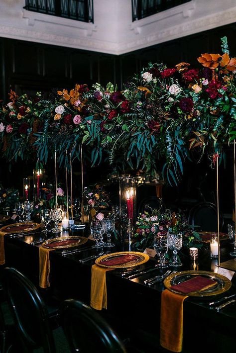 wedding trends 2019 dark mood bridal table fall colors tall orange burgundy greenery flower centerpieces candles camrynclairphoto wedding centerpieces tall 20 The Biggest Wedding Trends In 2020 Candle Centerpieces, Wedding Table Centerpieces, Halloween Wedding Centerpieces, Centerpiece Ideas, Quinceanera Centerpieces, Votive Candles, Decoration Evenementielle, Table Decorations, Jewel Tone Wedding