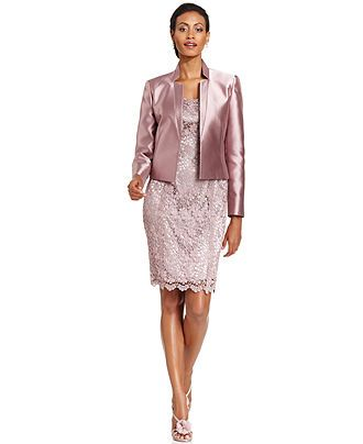 Tahari by ASL Lace Open-Front Jacket & Lace Dress - Dresses ...