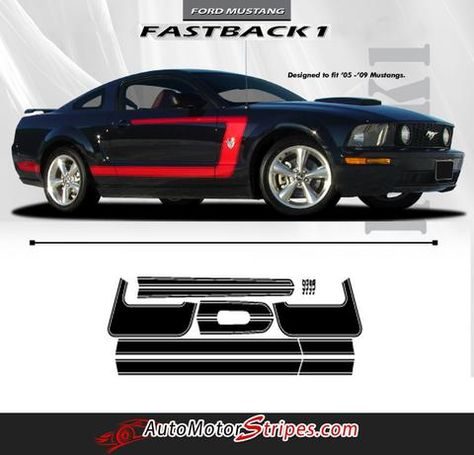 2005 2006 2007 2008 2009 Ford Mustang Side Hockey Stripe Graphics Style 2