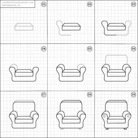 Learn To Draw A Sofa Chair In 6 Easy Steps Easy Drawings Kawaii Drawings Drawing For Kids