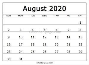 Calendar August 2020 Printable.Print Free Monthly Calendar 2020 August Calendar Design Blank
