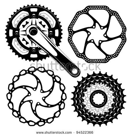 Bike Crankset Cassette And Disk Brakes Bike Tattoos Cycling
