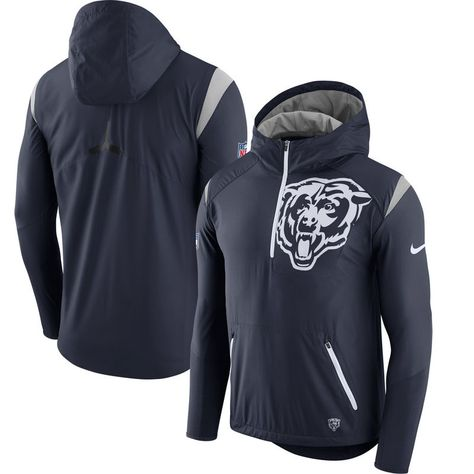 Chicago Bears Nike Sideline Fly Rush Half-Zip Pullover Jacket - Navy ... 0b23cb205