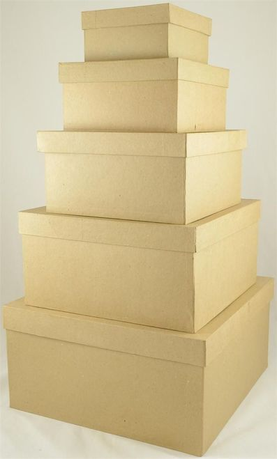 X Large Square Paper Mache Nested Box Set 5 8 X 8 X 3 9 X 9 X 4 75 10 X 10 X 5 5 12 X 12 X 6 Gift Card Boxes Paper