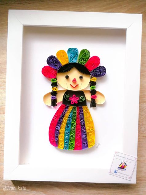 Mexican ' Mazahua Doll ' quilling paper. Paper Art. | Etsy