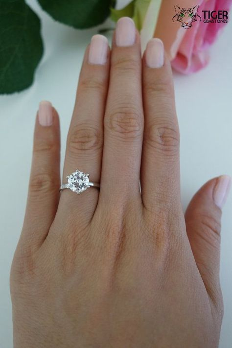 2 ct Classic Solitaire Promise Ring Man Made Diamond Simulant 6 Prong Wedding Ring Bridal Ring Engagement Ring Sterling Silver