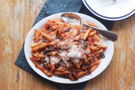 "Eggplant and Tomato Pasta - Pasta ala Norma recipe from Food Republic | ""This simple and essential Sicilian dish of deep-fried eggplant and punchy tomato sauce is indeed remarkable -- no wonder it's one of the region's most famous recipes."""